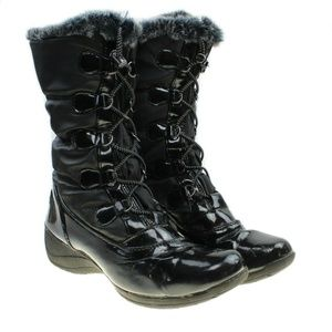 Totes Faux Fur Lined Toggle Lace-up Rain Boots